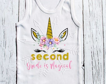 Unicorn Back to school - First grade Second Grade Third grade and beyond unicorns magical school tee shirts