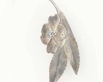 Vintage Dogwood Flower Brooch - Sterling Silver Stuart NYE Floral Pin Statement G0091