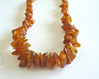 """Vintage Genuine Baltic Amber Nugget Beads Necklace 24"""""""