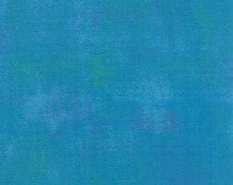 Fabric by the Yard- Grunge Basics-- Turquoise-- bu Basic Grey for Moda