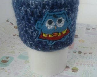 Vegan and Eco friendly Owl be Superman Coffee Cup Sleeve