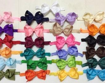 "Bow headband girl - 5"" hair bow headband - girl stretch headbands - headband bow, can clip hair bows alone on her hair, 25 colors to pick"