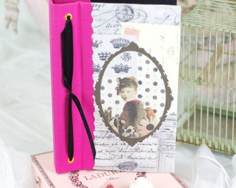 Saint Valentin Note book  vintage shabby chic Geisha japanese style