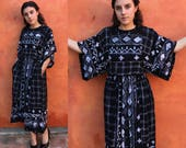 Vintage 1980s 1990s Kimono Sleeve Dolman Sleeve Fit and Flare Dress. Pockets. Ethnic African print. Rayon Dress. Casual Day dress boho gypsy