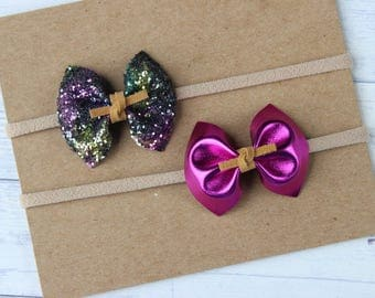 Fab and Funky + Metallic Purple {HARPER} Bows - Set of 2 - Autumn 2017