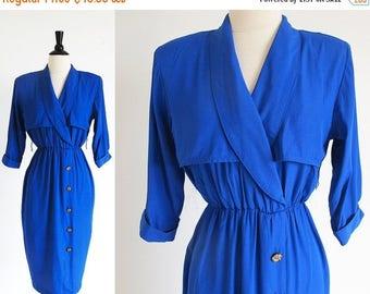 1/2 Off SALE Blue 80s Dress, 1980 Day Dress, Shoulder Pad Dress, Vintage Secretary Dress