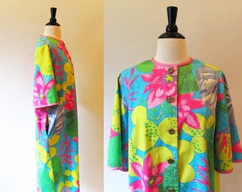 1/2 Off SALE Vintage 60s Cotton Robe, Flower Power Vintage House coat