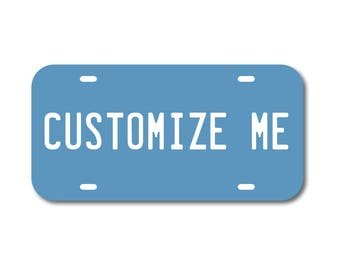 Plastic License Plate Custom Colonial Blue Car Tag Custom Personalized Vehicle Business Logo Monogram