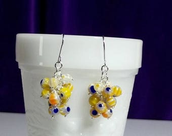 40% OFF SALE thru Tues Yellow and White Millefiori Cluster Earrings, Mom Sister Grandmother Bridesmaid Jewelry Gift, Pretty, Silver Earrings