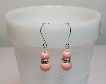 40% OFF SALE thru Tues Swarovski Pink Coral and Rhinestone Drop Earrings, Bridesmaid Wedding Mothers Day Gift, Mom Sister Girlfriend Jewelry