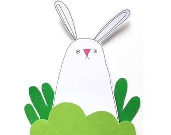 Bunny Birthday Card, Cute Bunny Card, Bunny Rabbit Card, Luxury Handmade Greeting Card, Blank Card, Hand-cut Card, Paper Cut Art, Diorama