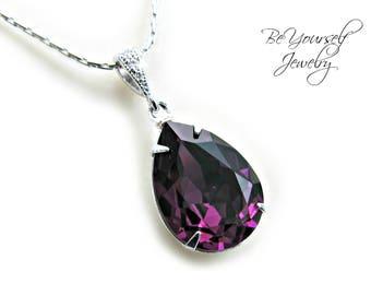 Amethyst Bridal Necklace Purple Teardrop Bride Necklace Swarovski Crystal Plum Wedding Necklace Dark Purple Bridesmaid Gift Wedding Jewelry