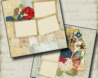 ROSE AMERICA - 2 Premade Scrapbook Pages - EZ Layout 297