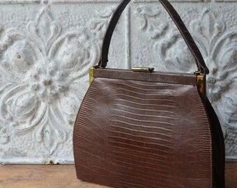 Vintage Brown Leather Kelly Bag