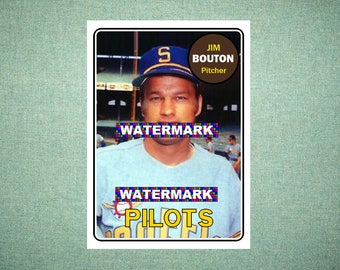 "ORIGINAL ""Card That Could Have Been"" by MaxCards, 1969 Style Jim Bouton Seattle Pilots, Hand Made Baseball Card 2.5 x 3.5 MINT"