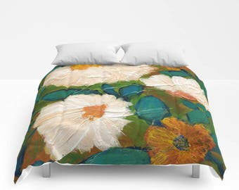 Evening Bloom Duvet Cover or Comforter, Bedspread Twin Full, White Teal Blue Olive Green Burnt Orange Rust Peach Yellow, floral, Expressive