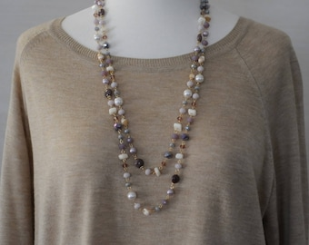 Bib Necklace, Semi precious Necklace, Lilac Pearl and crystal beads, Long Necklace, Pastel Color necklace, Gift for her, Purple necklace