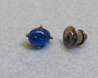Vintage Sapphire Blue Glass Tie Tack, Silvery Metal Tie Tack
