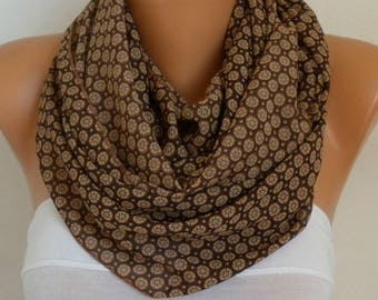 Brown Chiffon  Infinity Scarf,Fall Scarf,Cowl,Circle Scarf Loop Scarf  Gift Ideas For Her,Women Fashion Accessories