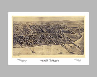 Coney Island New York -  Panoramic Map - Birds Eye View - Map - Print - Poster