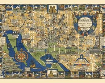 Washington DC Panoramic Street Map Vintage Print Poster