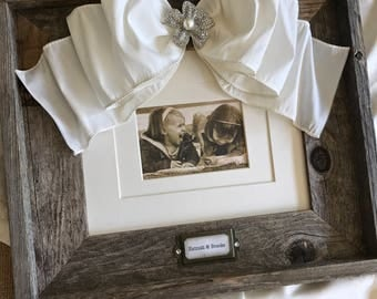 8x10 Photo Frame Bow Baby Child Family Wedding Frame Jewel Rustic Reclaimed Wood Personalize Name Date Rustic Barn Decor Farm House Decor