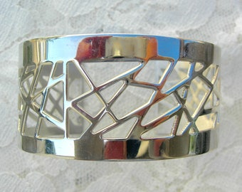 Contemporary Abstract Silver Bracelet, vintage