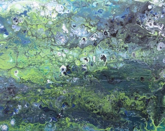 Sitka - Contemporary abstract acrylic fluid art painting wood canvas original art gallery canvas wall art decor Little Green Earthling