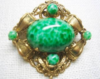 Vintage Art Nouveau Peking Glass Brooch