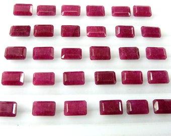 Natural Dyed-Corundum-Ruby Loose Gemstone Cut-Stone.Corundum-Ruby 7x11MM Rectangle-Cut Loose Gemstone Cut-Stone-30Pc-Loose Gemstone