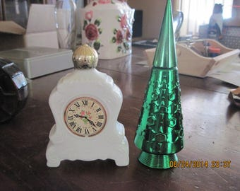 Vintage Avon Lot of 2 Womens Bath Oil/Bubble Bath Decanters...Christmas Tree and Clock... never used still full....