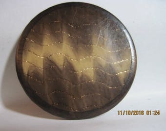 "ANTIQUE 19th Century German 1 3/8"" Brown & Ecru Celluloid Button w/ Gilt Gold Foil Waves  ..#648B"