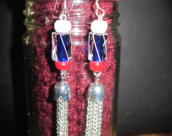 OOAK David Christensen Lamp Work Bead Dangle Earrings..Red,White,Black & Blue... Hand Made... Original Design...1625h