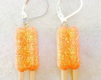 Orange Popsicle Earrings, Summer Dangle Earrings, Green Glitter Earrings, Summer Food Earring, Button Earrings