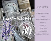 Lavender Pack Printable Paper Crafting Printable lilac digital scrapbooking junk journal making instant digital download - VDSPVI1765