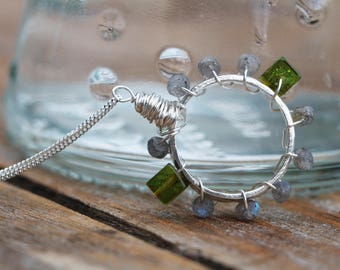 Fine Silver Circle Gemstone Pendant Green Amber Labradorite Sterling Silver