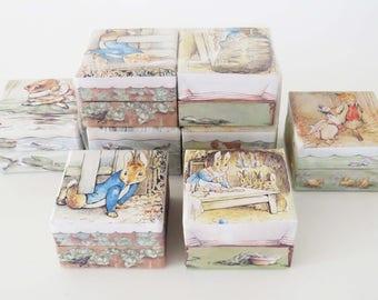 """Vintage PETER RABBIT PARTY Favor Boxes ~ 2 Sets of 4 Different Boxes / Measuring 2.5"""" x 2.5"""" x 1.75"""" / Peter Rabbit Party decorations-favors"""