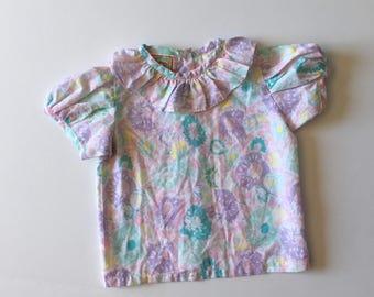 1980's Pastel Floral Blouse (2t)