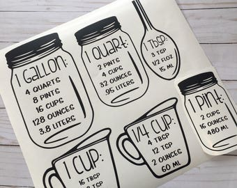 Measurement Cup Decals for Cabinets | FREE SHIPPING |
