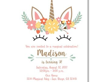 Unicorn Flower Birthday Invitations - Digital File