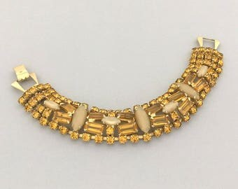 Designer WEISS Rhinestone Bracelet - Vintage Rhinestone Amber Bracelet - Mid Century Rhinestone Costume Jewelry Bracelet - Gift for Wife
