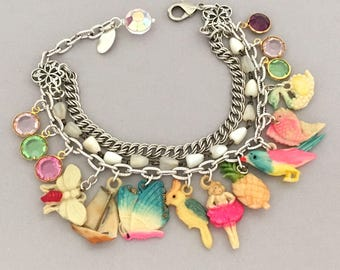 Vintage Assemblage Charm Bracelet - 1940s Repurposed Charm Bracelet - Cracker Jack Toy Charm Bracelet - Unique Tropical Funky Fun Bracelet