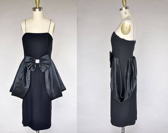 80s black cocktail dress | vintage 80s does 50s dress | black satin bow, sleeveless, rhinestones