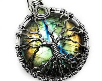 Multi colored labradorite tree of life pendant Sterling silver