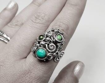 Natural gemstone ring garnet peridot and turquoise