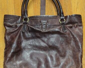 Vintage Distressed Brown Leather Tote