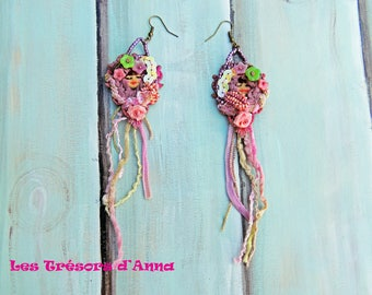 Pink earrings Cracovian lime and pink old Les Cracoviennes lime trees and old earrings