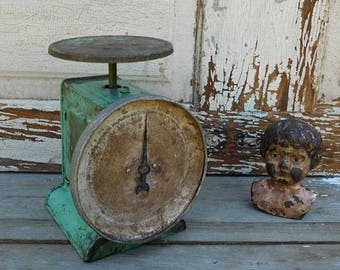 Vintage Green Scale, Chippy, Rusty, Primitive Antiques