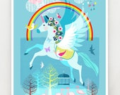 Unicorn, the Rainbow and friends, print, Ellen Giggenbach