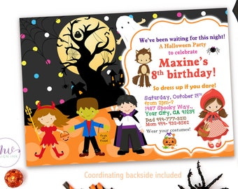 Halloween Costume Party Invitation, Halloween Birthday Invitation, Kids Halloween Party Invitation, Personalized Halloween Invitations Kids